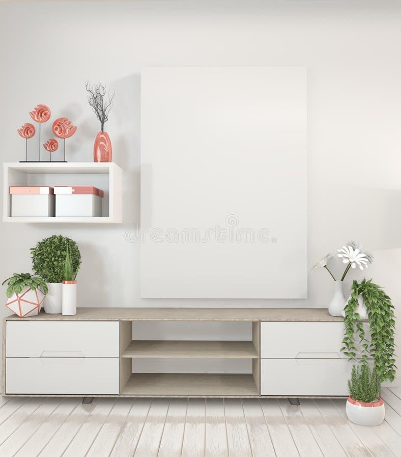 电视架子内阁的嘲笑在现代空的室,嘲笑海报框架和白色墙壁日本风格 3d?? 库存例证