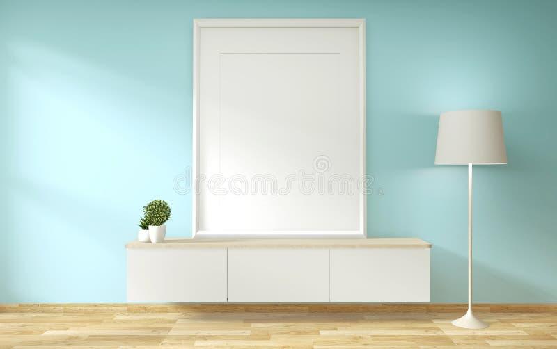 电视架子在薄荷的屋子现代热带样式-空的室内部里-最小的设计 3d?? 向量例证