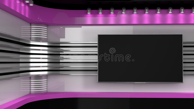 电视演播室 桃红色演播室 电视节目的背景 新闻编辑室 库存图片
