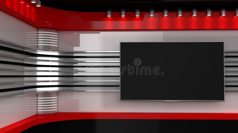 电视演播室 电视节目的背景 在墙壁上的电视 新闻演播室 p 免版税库存图片
