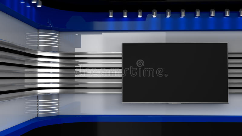 电视演播室 蓝色演播室 电视节目的背景 在墙壁上的电视 免版税库存图片