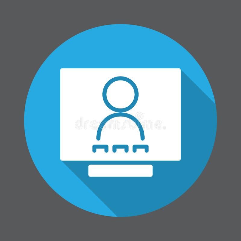 电视电话会议平的象 圆的五颜六色的按钮,与长的屏蔽效应的圆传染媒介标志 皇族释放例证