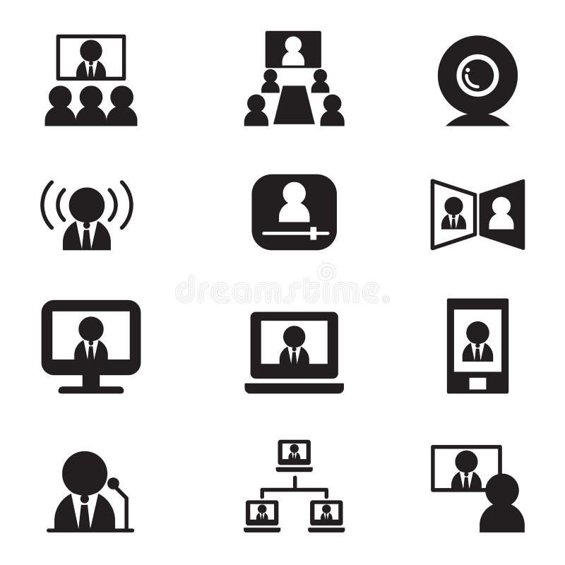 电视电话会议通信(会议、研讨会,训练)象 库存例证