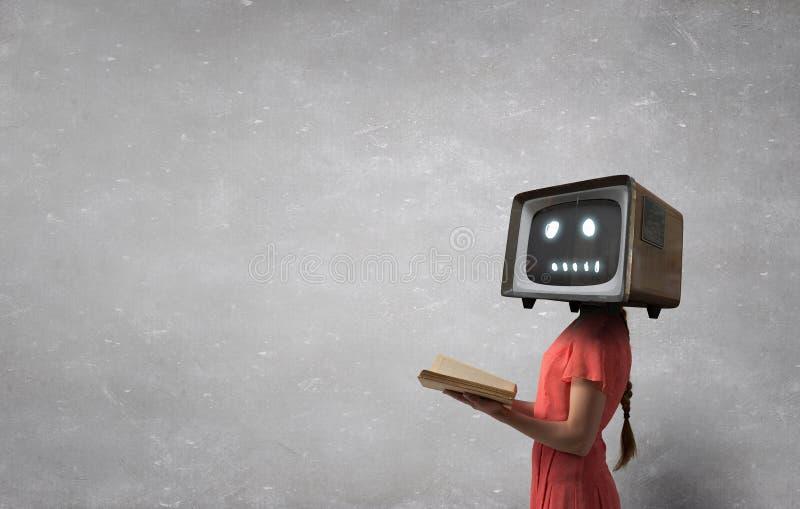 电视瘾的问题 混合画法 库存照片