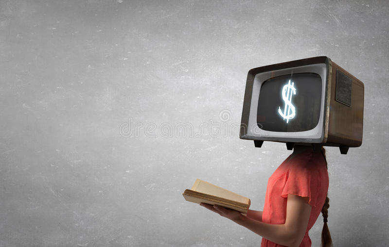 电视瘾的问题 混合画法 免版税库存照片