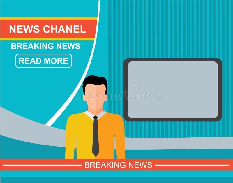 电视的,平的传染媒介例证现场报道员 皇族释放例证
