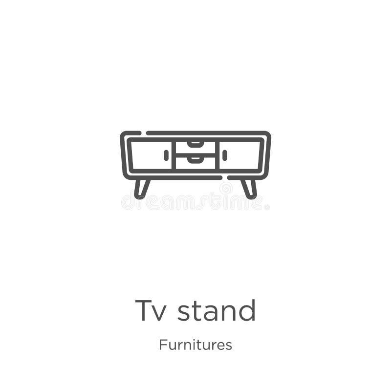 电视立场从家具汇集的象传染媒介 稀薄的线电视立场概述象传染媒介例证 概述,稀薄的线电视立场 向量例证
