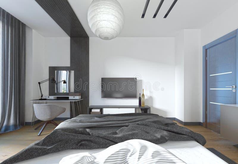 电视立场在一个现代样式的卧室 向量例证