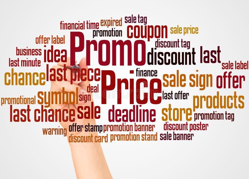 电视节目预告价格词云彩和手有标志概念的 免版税库存图片