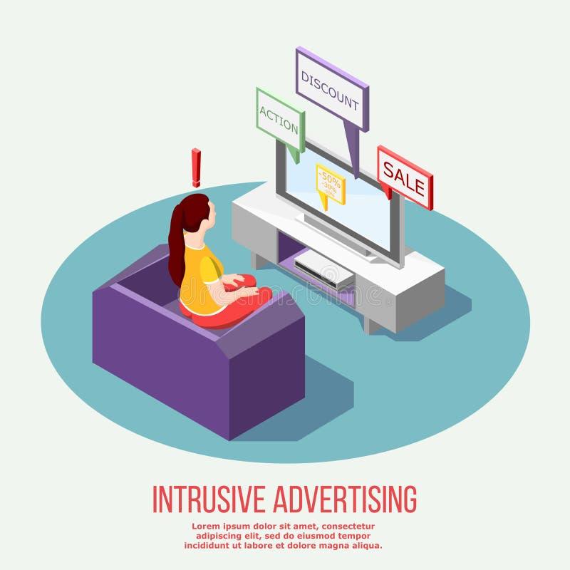 电视讨厌的广告等量构成 库存例证