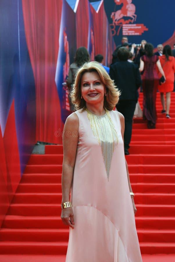 电视赠送者莫斯科电影节的埃琳娜Starostina 免版税图库摄影