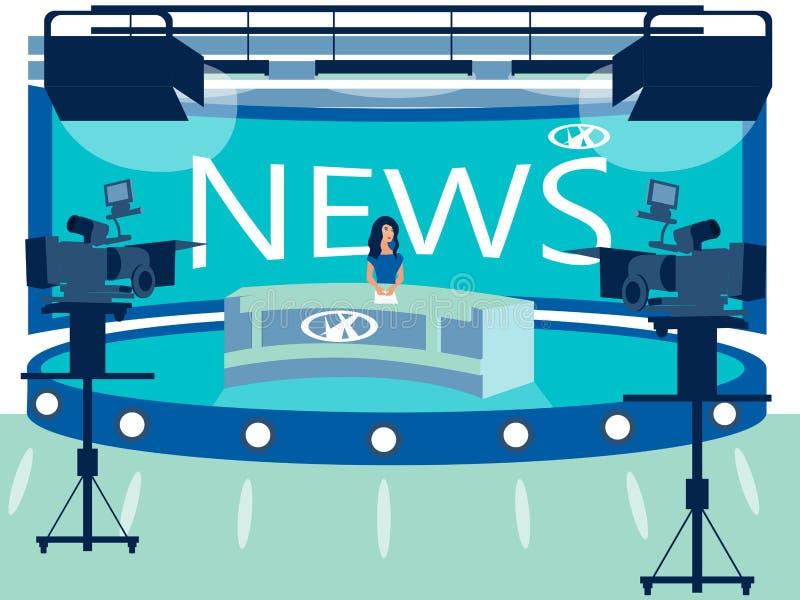 电视频道新闻演播室内部 记者在工作场所 r 库存例证