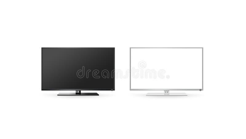 电视lcd被隔绝的平面屏幕嘲笑,黑白集合 库存照片