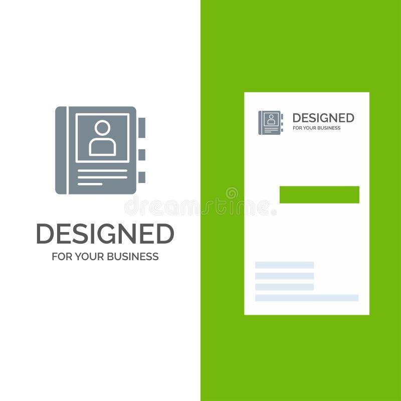 电话、书、日志、信息灰色商标设计和名片模板 库存例证