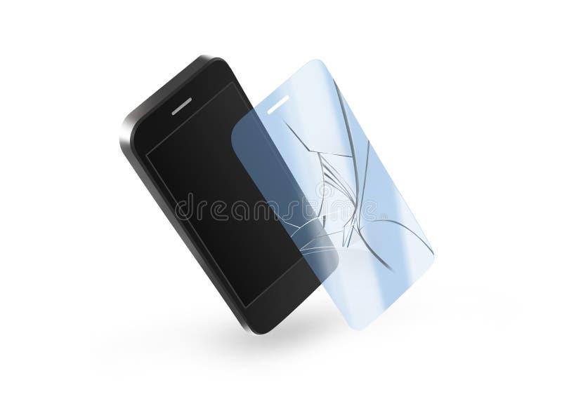 电话与屏幕的打破的保护玻璃 智能手机显示 库存例证