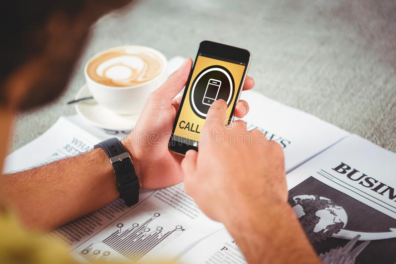 电话与流动象的出租汽车文本的图象的综合图象 免版税库存图片