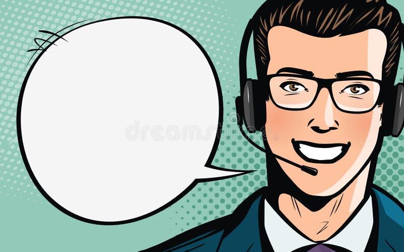 电话中心、用户支持、帮助台或者服务概念 耳机人 流行艺术减速火箭的可笑的样式 动画片illustrati 向量例证