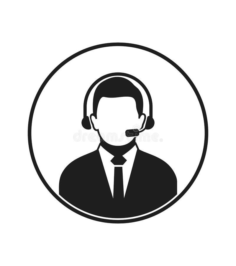电话中心与耳机标志的操作员象 库存例证