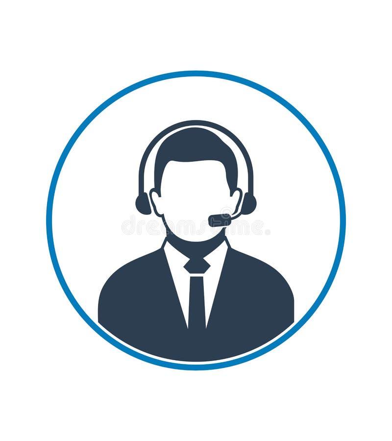 电话中心与耳机标志的操作员象 r 库存例证