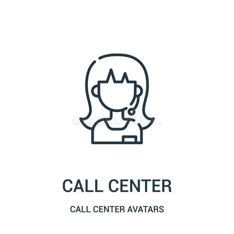 电话中心从电话中心具体化汇集的象传染媒介 稀薄的线电话中心概述象传染媒介例证 库存例证