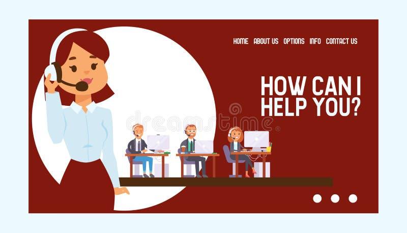 电话中心传染媒介网页人人妇女字符工作在支持顾客例证背景的电话办公室 库存例证