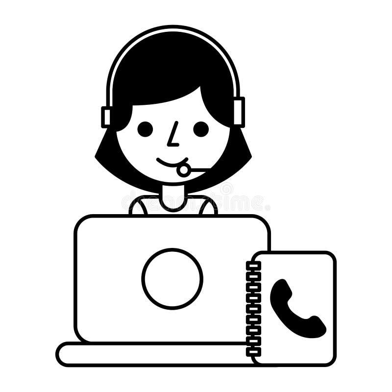 电话中心女孩lapopt通讯录 皇族释放例证