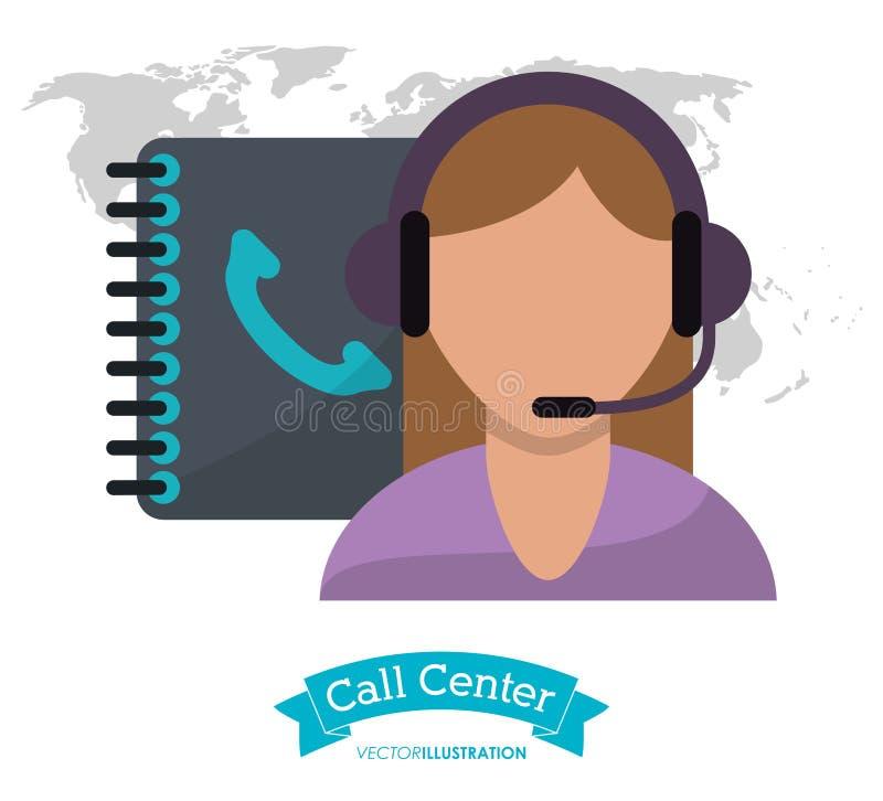 电话中心妇女电话支持客户联络 库存例证