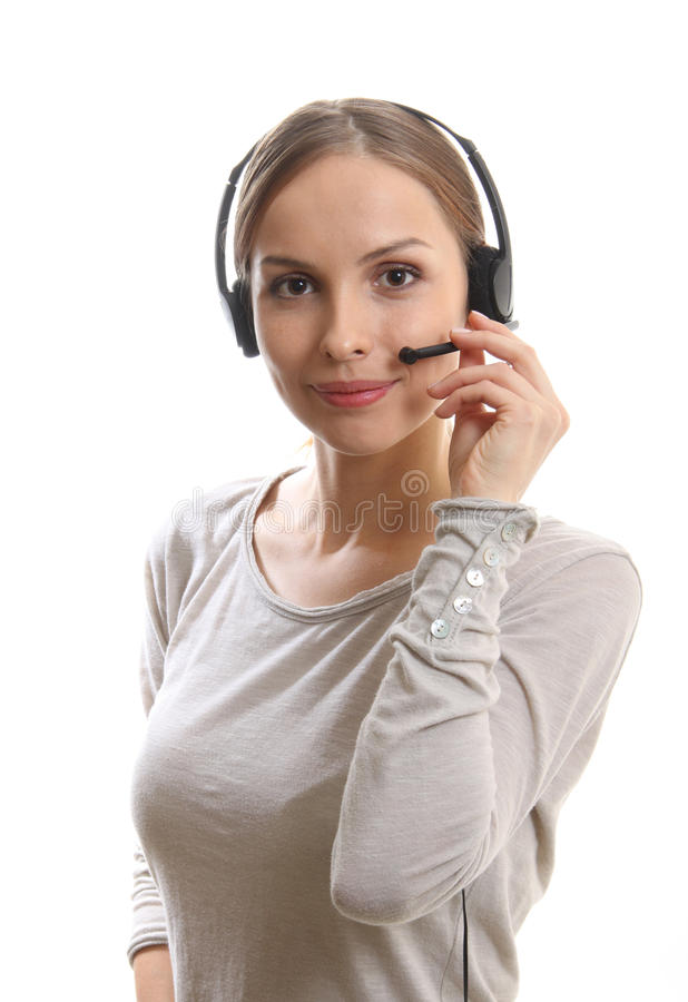 电话中心妇女 免版税库存图片