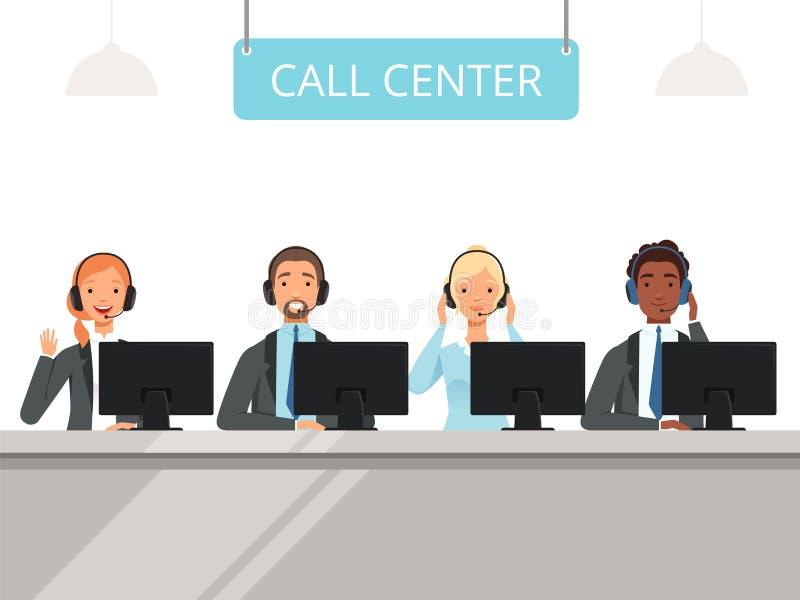 电话中心字符 企业客服坐前面手提电脑传染媒介的耳机的代理操作员 向量例证