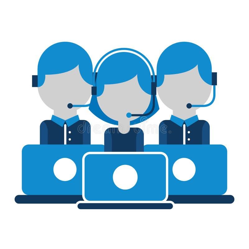 电话中心小组人与lapotp一起使用 皇族释放例证