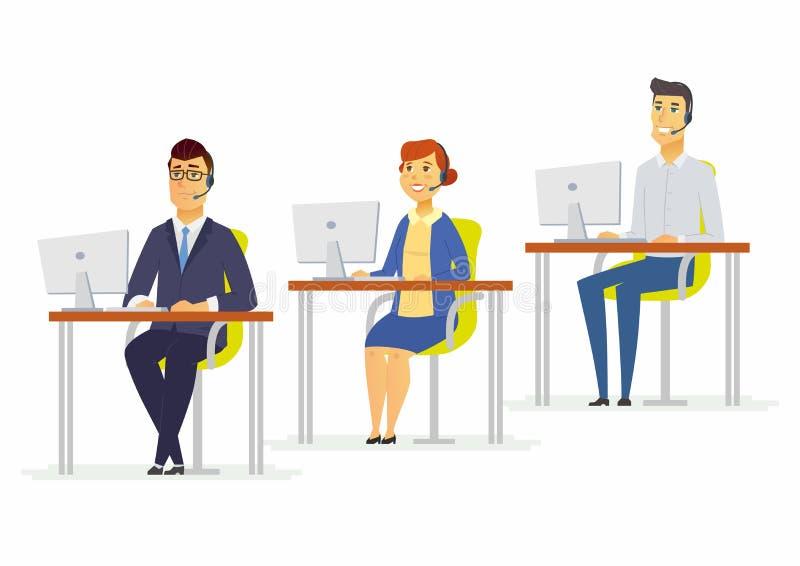 电话中心工作者-现代动画片人字符例证 向量例证