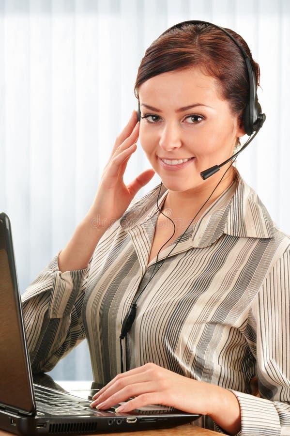 电话中心操作员。用户支持。帮助台 免版税库存图片