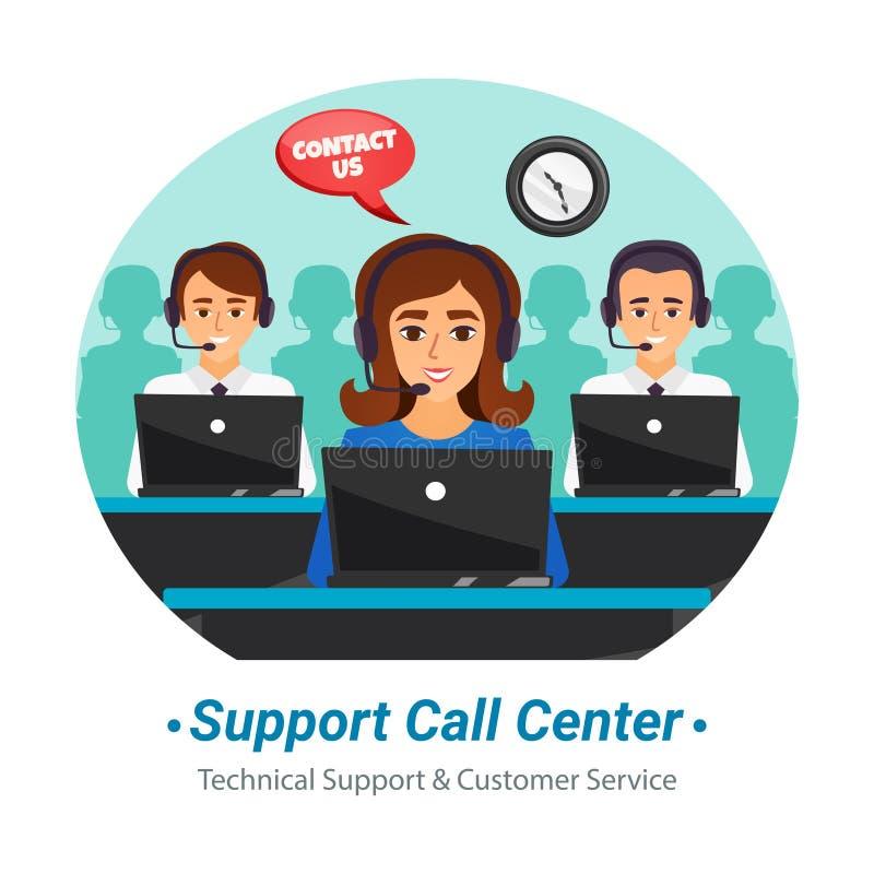 电话中心操作员平的构成 向量例证