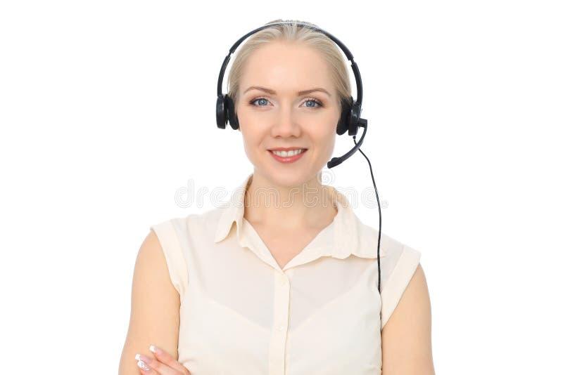 电话中心操作员或年轻美丽的女商人耳机的被隔绝在白色背景 免版税库存图片