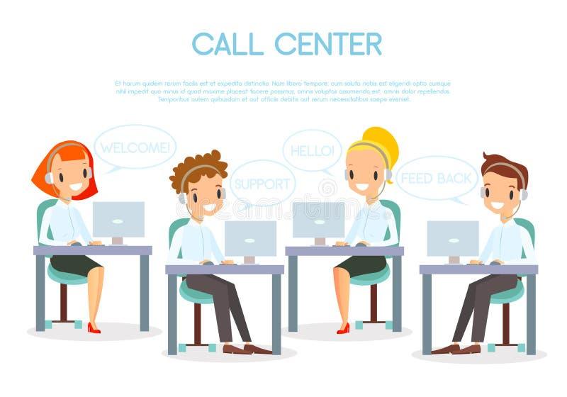 电话中心操作员的传染媒介例证在办公室与膝上型计算机一起使用和耳机的 微笑和愉快的电话 库存例证
