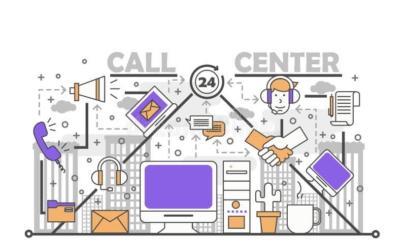 电话中心概念在平的线性样式的传染媒介例证 向量例证