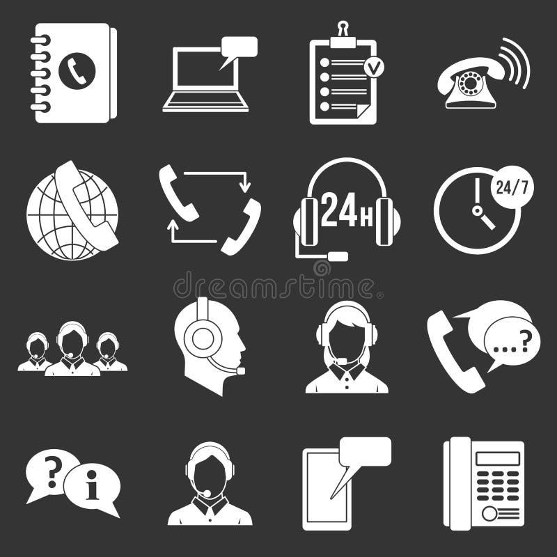 电话中心灰色标志的象被设置 向量例证