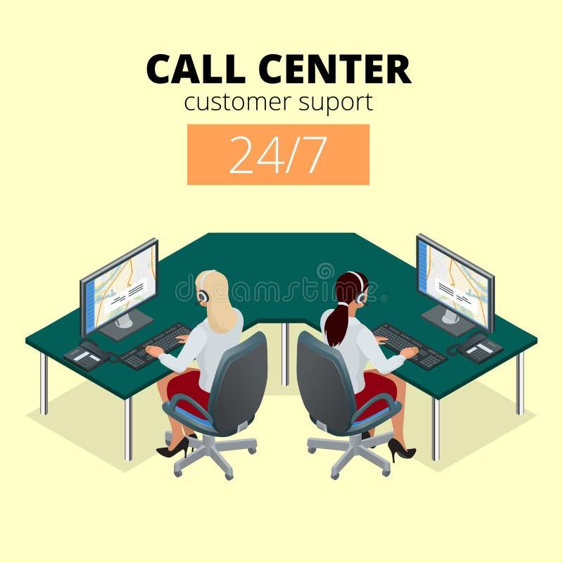 电话中心的传染媒介概念 技术支持或调度员电话中心 电话中心的女性操作员 平的3d 库存例证