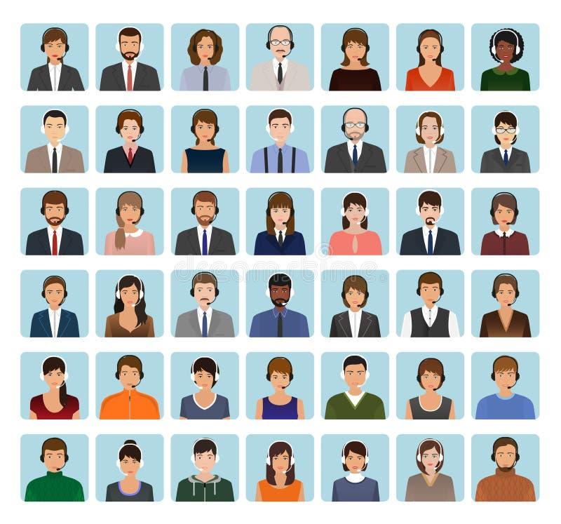 电话中心雇员具体化设置与耳机 支助服务面孔字符象  向量例证