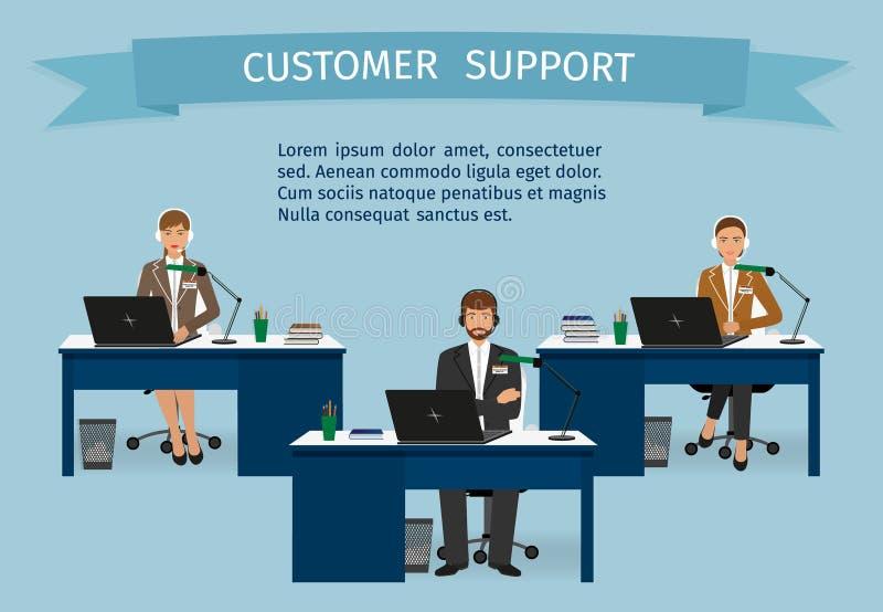 电话中心雇员字符设置了与有奖丝带的耳机 支助服务职员在桌上 库存例证