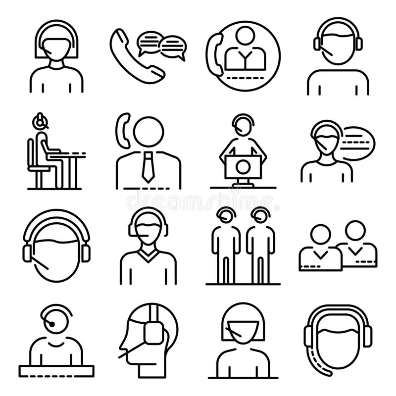 电话中心雇员象集合,概述样式 向量例证