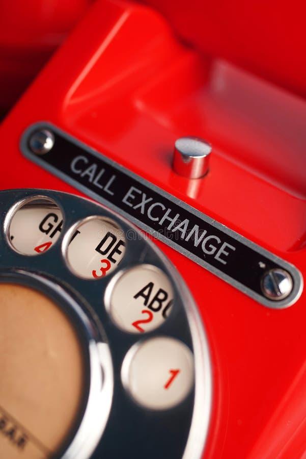 电话交换轮循拨号电话 库存照片