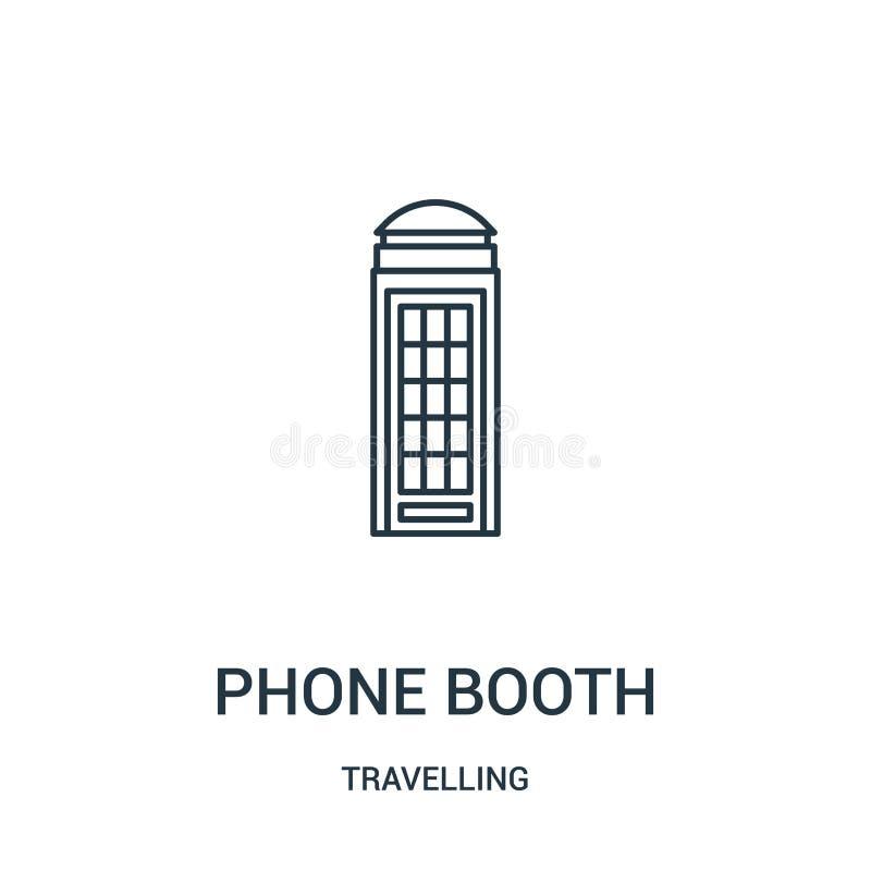 电话亭从旅行的收藏的象传染媒介 稀薄的线电话亭概述象传染媒介例证 r 库存例证