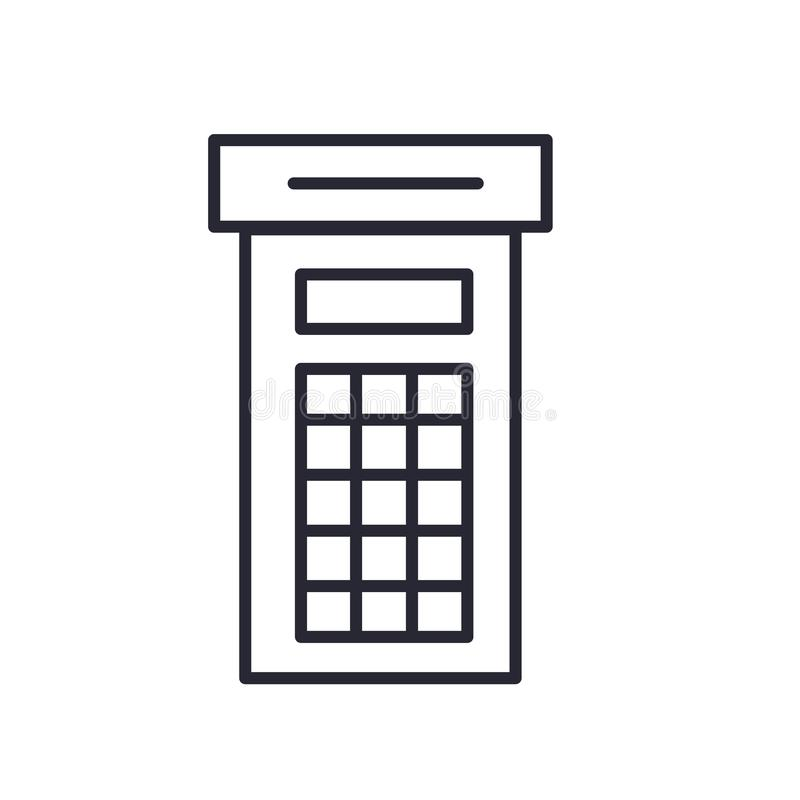 电话亭象在白色背景和标志隔绝的传染媒介标志,电话亭商标概念 皇族释放例证