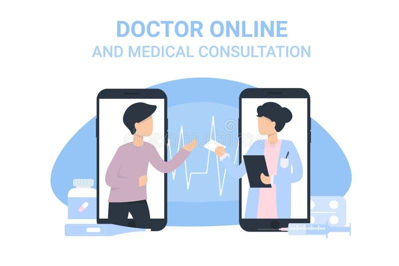 电话人和医生妇女电话医疗会诊 向量例证