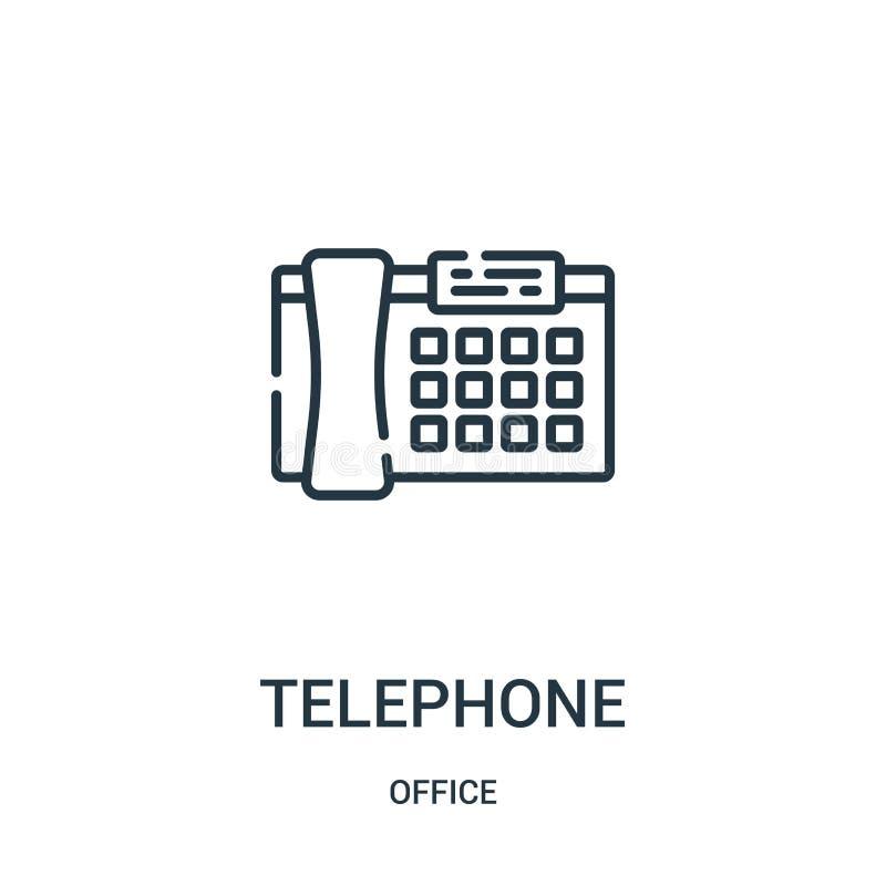 电话从办公室汇集的象传染媒介 稀薄的有线电话概述象传染媒介例证 库存例证