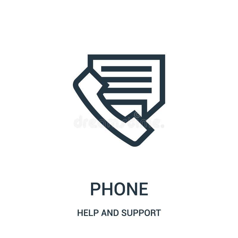 电话从帮助和支持汇集的象传染媒介 稀薄的线电话概述象传染媒介例证 r 向量例证