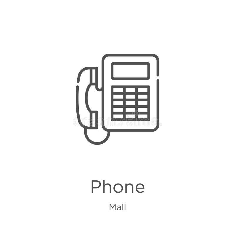 电话从购物中心汇集的象传染媒介 稀薄的线电话概述象传染媒介例证 概述,稀薄的线电话象为 库存例证
