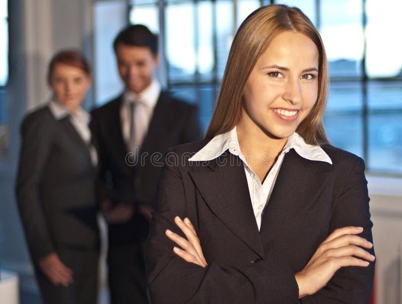 电话会议微笑 免版税图库摄影