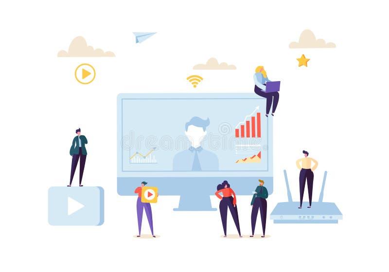 电话会议网上通信概念 电视电话会议Webinar字符的商人在数据分析 向量例证